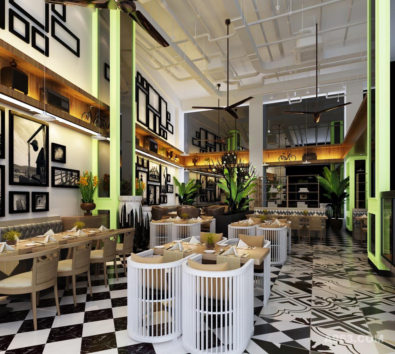 小魔仙烤鱼餐厅-大厅效果图