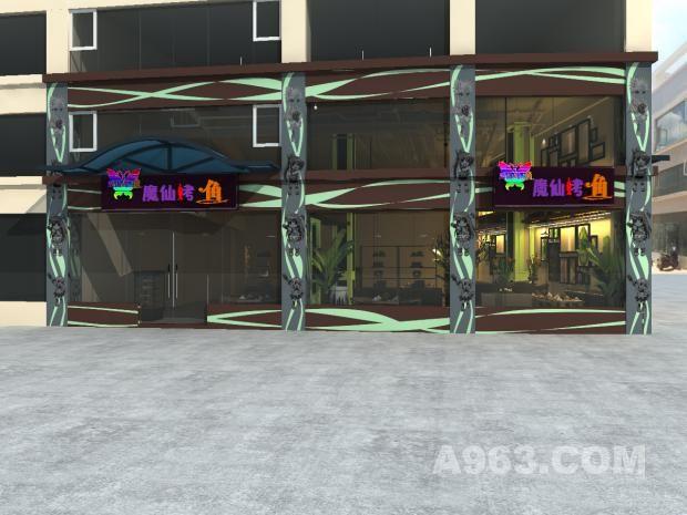 小魔仙烤鱼餐厅-外观效果图 小魔仙烤鱼餐厅外观,设计突出了这个很有个性的LOGO,增强了主题餐厅特征,让客人直观感受其品牌的魅力。